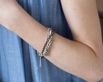 Mixed Metals Chain Bracelet-Chunky Chain Bracelet-Multi Strand Bracelet-Multichain-Gift For Her-Gift for Mom