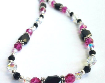 Handmade Beaded Jewelry, Swarovski Crystal Necklace, Statement Necklace, Pink Black Swarovski Crystal Jewelry, Bead Necklace, Elegant