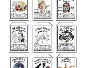 Fantasy Potion Labels -- Fairy Tale Characters, GIFT TAGS (2 x 3 inches)