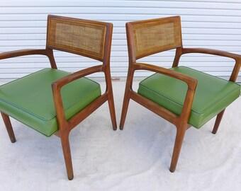 Pair Thayer Coggin Cane Back Armchairs Walnut Lounge Chair Grass Green  Vinyl Seat Cushion Mid Century