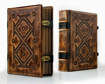"""8"""" x 10"""" - Large Leather Journal with genuine lizard leather details - unique journal, special gift, Book of Shadows, Magician book"""