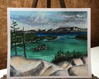 Emerald Bay Lake Tahoe California  12 x 10  Watercolor print