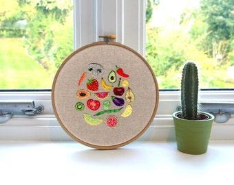 "Fruit and Veg // Original Artwork // Hand Embroidery // 7"" Hoop // Illustration // Embroidery Hoop"