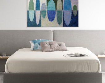 Blue ovals original abstract painting Geometric abstract art blue gray and green Modern art Wall art One of a kind artwork Unique canvas art