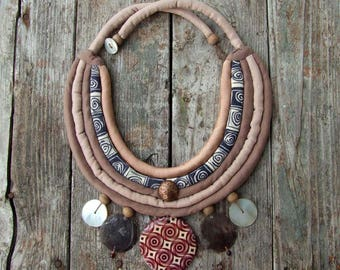 Boho style Necklace, Natural materials, Textile jewelry, Ethnic necklace, Dusty rose Beige, Eco-friendly, Upcycling Recycling, African style