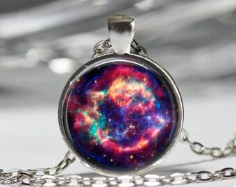 Galaxy Nebula Pendant, Nebula Jewelry, Space Astronomy Necklace [A81]