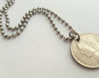 1974 European Coin Necklace  - Stainless Steel Ball Chain or Key-chain