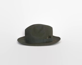 Vintage 40s Mallory FEDORA / 1940s Men's Dark Green Felt Hat Unreeded 7 1/4