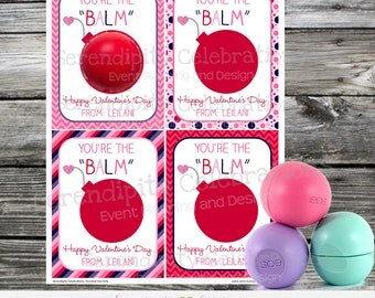 Printable Valentine Cards, Lip Balm Valentine Cards, Teacher Valentine Cards, EOS Valentine Cards, You are the Balm Valentine Favors
