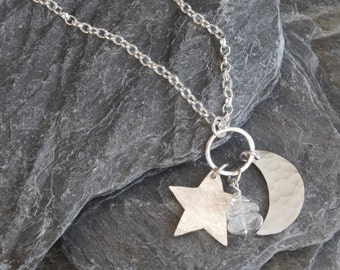 Silver star and moon necklace - crescent moon - hammered artisan silver - star pendant - sterling silver - rock crystal - long chain