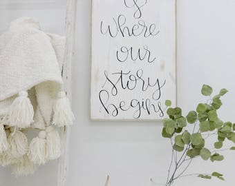 This is where our story begins black and white rustic wood sign