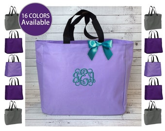 11 Monogrammed Tote Bags, Personalized Essential Totes, Bridesmaid Gift, Embroidered tote bag