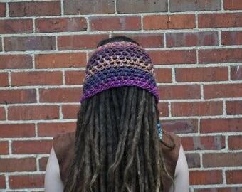 Purple and Copper Wool Headband // 100% Wool Openwork Dreadlock Hairband