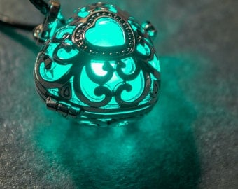 Luminous Glow In The Dark Silver Filigree Heart Pendent ~ Steampunk Glowing Gothic Locket Necklace ~ In 13 Vivid LED & UV Resin Glow Colours