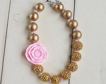 Bubble Gum Necklace Light Pink Gold Baby Girls Chunky BubbleGum Necklace Chunky Baby Necklace Baby Necklace Flower Necklace