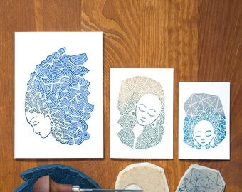 Sleeping Beauty - hand printed greeting cards - set of 3