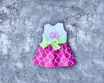 Baby girl Easter dress, monogrammed toddler dresses, little girl easter outfit, spring dresses, Pink and lime lattice dress