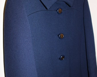 Gloriously Gilmore Navy Wool Coat with Flashy Gold Buttons ||| Size Medium ||| 1960s ||| Sycamore Coat