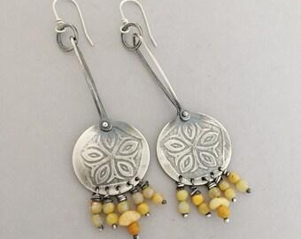 Sterling Long Dangle Earrings, Baltic Amber Gemstone, Modern Jewelry For Women, Boho Style Fashion Accessories, Best Gift Jewelry.