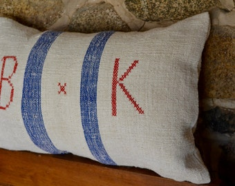 Authentic Vintage European Grain Sack Embroidered Pillow Blue Stripe