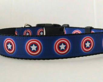 Captain America Dog Collar - Adjustable Dog Collar - Superhero Dog Collar