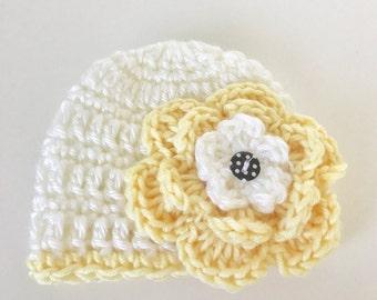 Crochet premie hat, baby girl hat, premie hat, baby hat with flower