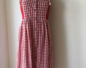 """Red gingham dress dirndl dress Trachten Austrian peasant dress Bavaria Folk Dress Cotton Summer Prairie Dress Oktoberfest  size S chest 34"""""""