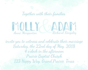 Blue Watercolor Monogram wedding/event invitation DIGITAL FILE