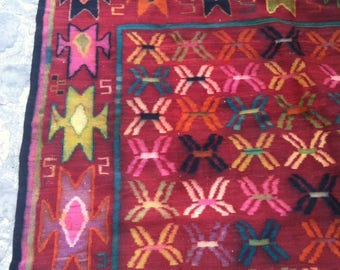 North African kilim primitive abstract art rug carpet 10' X 6.23' vintage Moroccan vibrant color geometric wool flower garden field allover