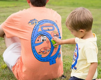 Race Track Shirt for Dad Fathers Day. Race Car Road Map T Shirt Car Play Mat on Back of Shirt