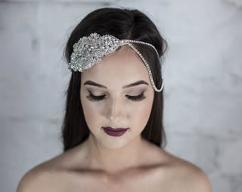 Bridal Halo, Boho bridal hair accessories, bridal hair chain, bohemian bridal hair jewelry, crystal headband, bridal headband, hair piece