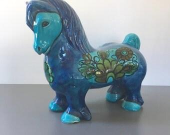 vintage blue ceramic horse Italy Alvino Bagni hand painted