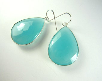 Large Aqua Chalcedony Earrings, Sterling Silver, Teardrop Earrings, Drop Earrings, Statement Earrings, Gemstone, Stella and Dot Inspired