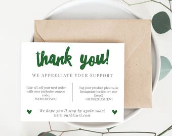 INSTANT Business Thank You Cards, Editable PDF Printable Packaging Inserts for Online Shops, Etsy Sellers | Emerald Brand, Adelie | Download