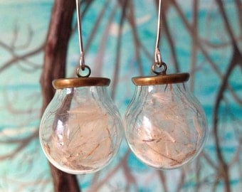 Dandelion Seed Earrings on Sterling Silver Handcrafted Earwires