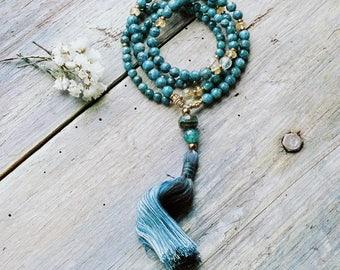 Beautiful apatite mala necklace