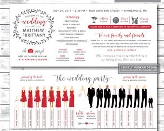 silhouette wedding program, rustic, floral wreath, wedding program, wedding party silhouettes, programs, PRINTABLE or PRINTED PROGRAMS