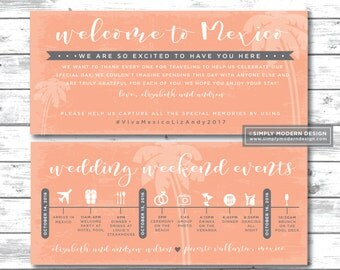 wedding itinerary, destination wedding, timeline, tropical, beach wedding, schedule, guest timeline, welcome kit, card, PRINTABLE or PRINTED