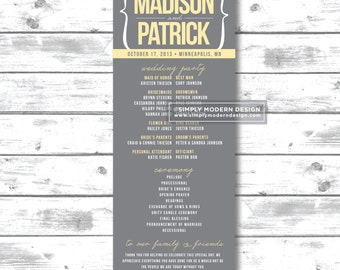 Printable Ceremony Program Minimalist Wedding Program