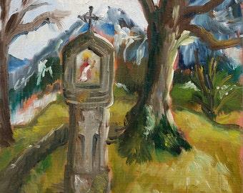 "Original Oil Painting Small 15cm x15cm 5.9"" x 5.9"" ""Saint Corbinian"" Landscape Vignette With Shrine In Bavaria"