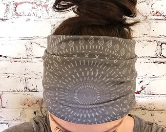 Extra Wide Yoga Headband - Mandala Shield - Gray - Eco Friendly