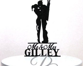 Personalized Wedding Cake Topper - Harley Quinn and Deadpool silhouette with Mr & Mrs name