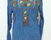 Hand Embroidered Blouse Long Sleeve Cotton Top, Bohemian Style