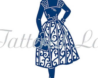 Tattered Lace Die - 60's Swing, Lady