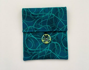 Teal Pouch, Small Pouch, Accessory Bag, Button Pouch, Bag Organizer, Cell Phone Case, Camera Case