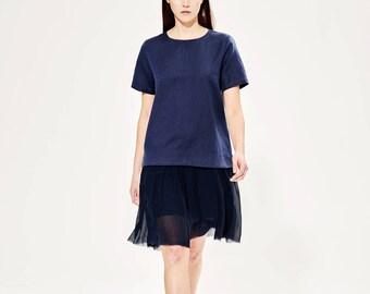 Boxy Linen Dress / Loose Linen Dress /  Navy Blue Silk and LinenDress /  Plus Size Dress / Short Sleeves T-shirt Dress / Preppy Dress