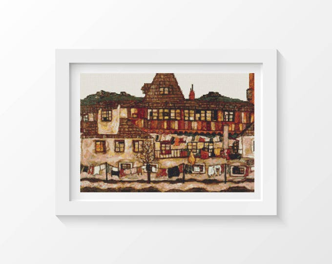 Cross Stitch Pattern PDF, Embroidery Chart, Art Cross Stitch, Architecture, A House with Drying Laundry by Egon Schiele (SCHIE03)