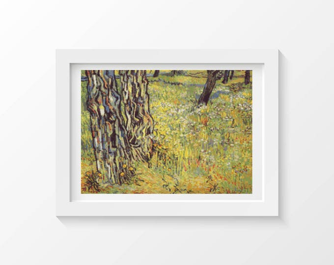 Cross Stitch Pattern PDF, Embroidery Chart, Scenery Cross Stitch, Baumstämme (Tree Trunks) by Vincent Van Gogh (VGOGH04)