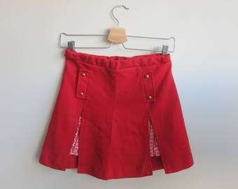 Vintage Red Button Mini Skort