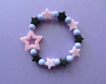 Pink & Blue Lavender Star Bracelet Kawaii- Gothic- Pastel Goth- Gothic Lolita- Sweet Lolita-JFashion- Harajuku- Fairy Kei- Creepy Cute
